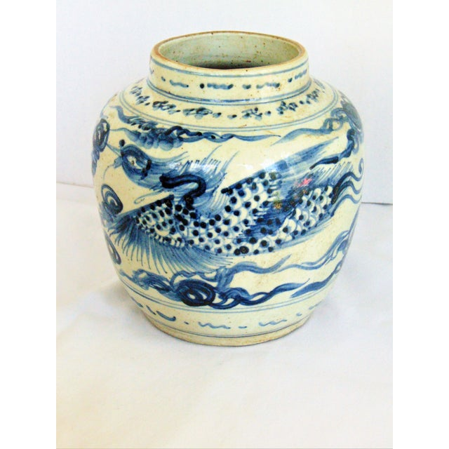 Blue & White Phoenix Storage Jar For Sale - Image 4 of 7