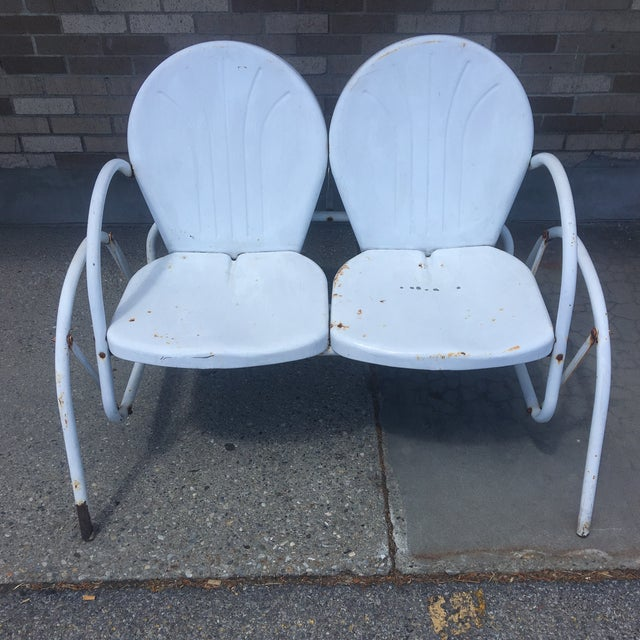 Vintage 1950's Bellaire Outdoor Metal Double Glider For Sale - Image 4 of 7