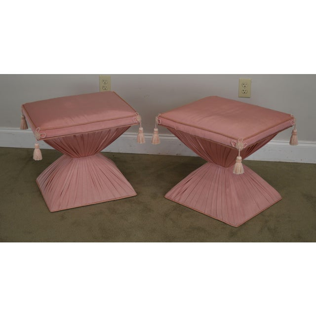 High Quality Vintage True Hollywood Regency Custom Upholstered Pair of Stools Possibly Dorothy Draper - Not Labeled