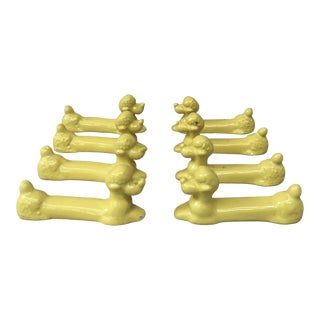 Yellow Majolica Poodle Knife Rests Vallauris, Circa 1950 - Set of 8 For Sale