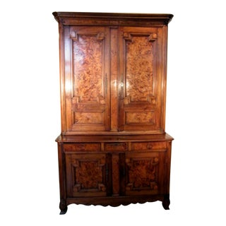 Late 18th Century Antique French Elm & Burl Linen Cabinet For Sale