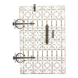 Patinated Indian Mugal Wrought Iron Panel For Sale