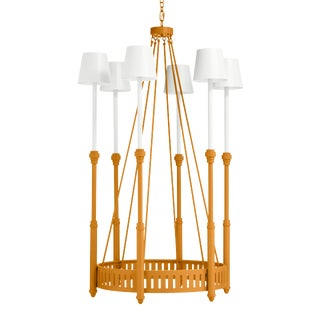 Camilla Chandelier, Dash of Curry with White Shades For Sale