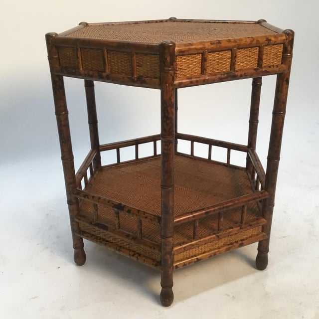 Asian 1960s Asian Bamboo Hexagonal Occasional Table For Sale - Image 3 of 10