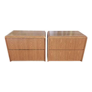 Pair 1980s Paper Oak Veneered Press Wood 2 Drawer Lateral File Cabinets For Sale