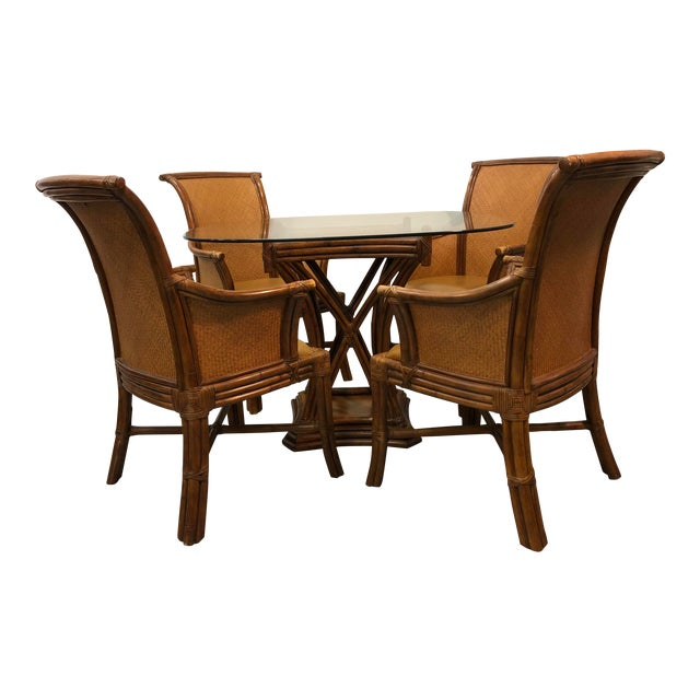 Bamboo Rattan Breakfast Table Set For Sale