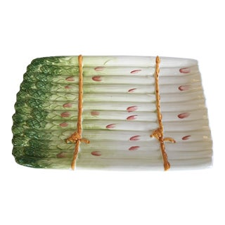 Majolica Style Hand Painted Asparagus Platter, Made in Italy For Sale