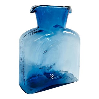 Mid Century Blue Glass Pitcher by Blenko For Sale