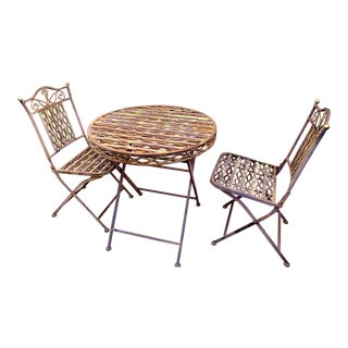 Italian Mid Century Folding Bistro Set - 3 Pieces For Sale