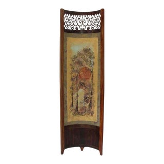 Wooded Trees Pattern Mixed-Media With Exotic Wood Screen / Room Divider For Sale