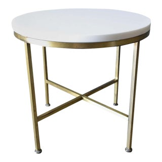 Round Brass and Vitrolite Side Table by Paul McCobb, Circa 1959 For Sale