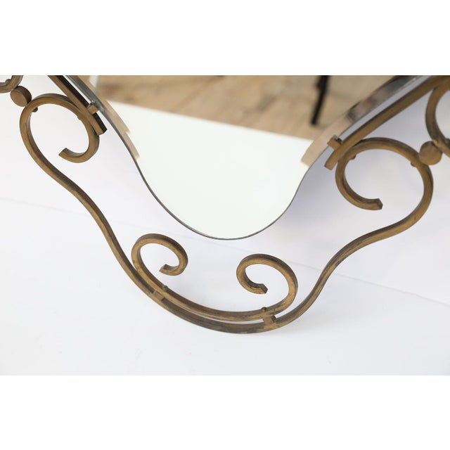 French Vintage Brass Frame Mirror For Sale - Image 4 of 10