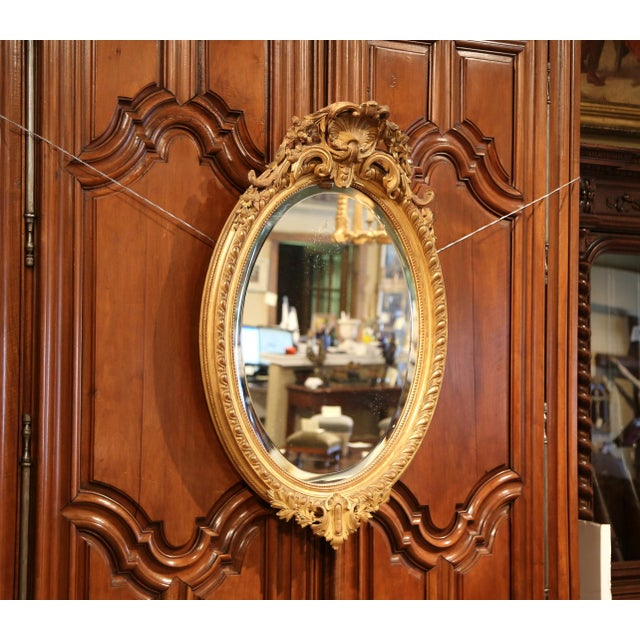 19th Century French Louis XV Oval Gold Leaf Beveled Mirror with Carved Shell For Sale - Image 4 of 9