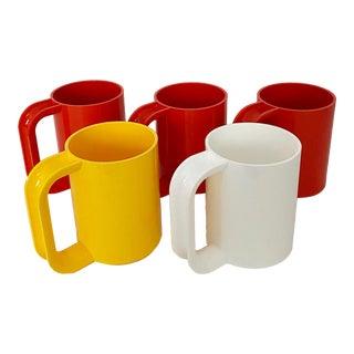 1970s Modern Massimo Vignelli for Heller Mugs - Set of 5 For Sale