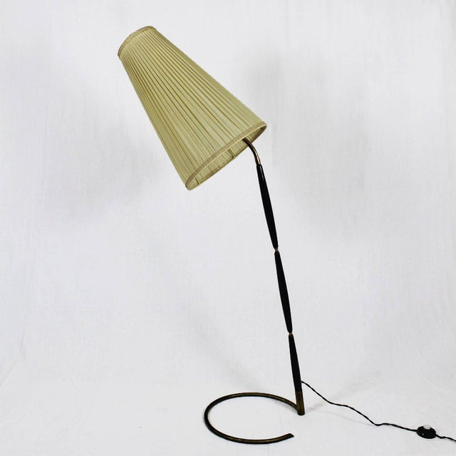 Outstanding floor lamp, polished brass structure covered with stained and varnished mahogany pieces, adjustable original...