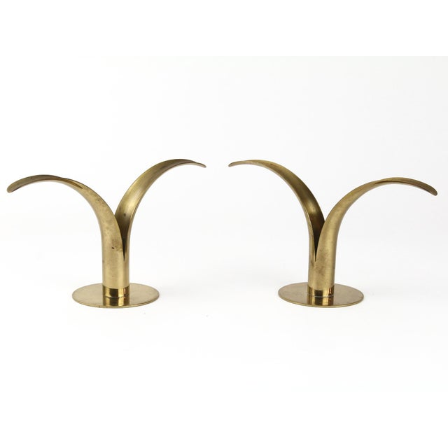 Brass Sweden-Lily Candle Holders - A Pair For Sale - Image 4 of 6