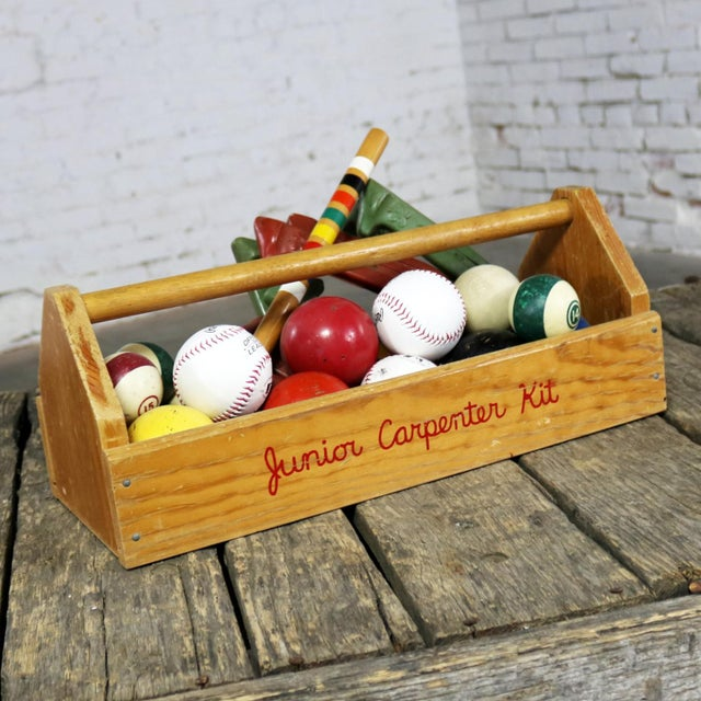 Object D 'Art Centerpiece Junior Carpenter Kit Tool Box With Balls and Horseshoes For Sale - Image 12 of 13