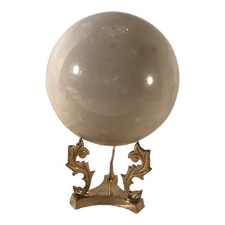 Mid Century Modern Marble Orb With Brass Stand For Sale