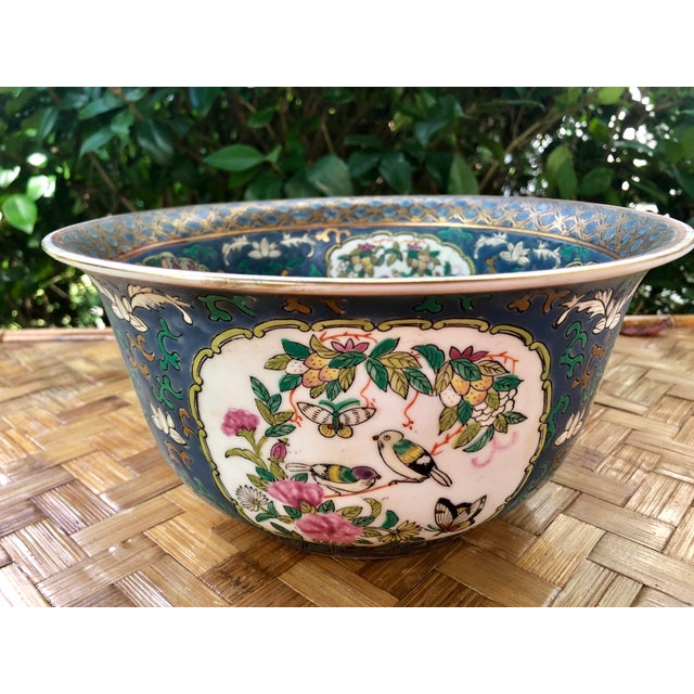Ceramic 20th Century Chinese Hand Painted and Gilt Rose Medallion Bowl in Blue For Sale - Image 7 of 13