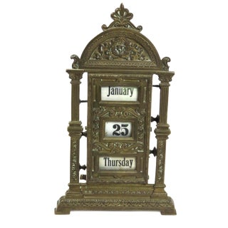Antique Brass Desktop Perpetual Calendar For Sale