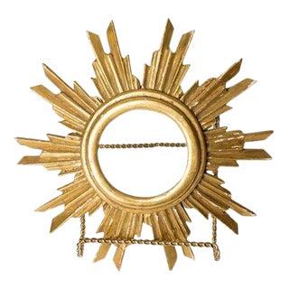 French Gilt Wood Sunburst Religious Relic