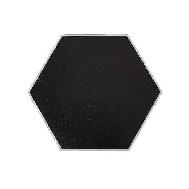 """Hand painted hexagon shaped table. Top is faux slate formica in black. Hollywood Regency meets Moroccan influence!! 15.5""""..."""