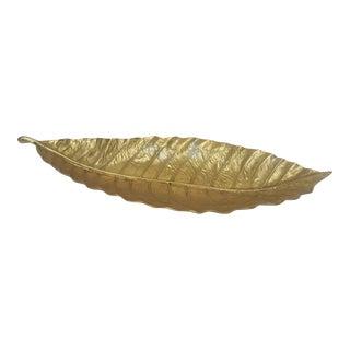 Mid Century Gold Metal Decorative Leaf Dish