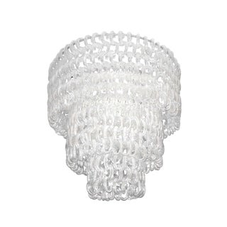Barovier Fluted Clear Glass C Chain Chandelier / 1953 For Sale