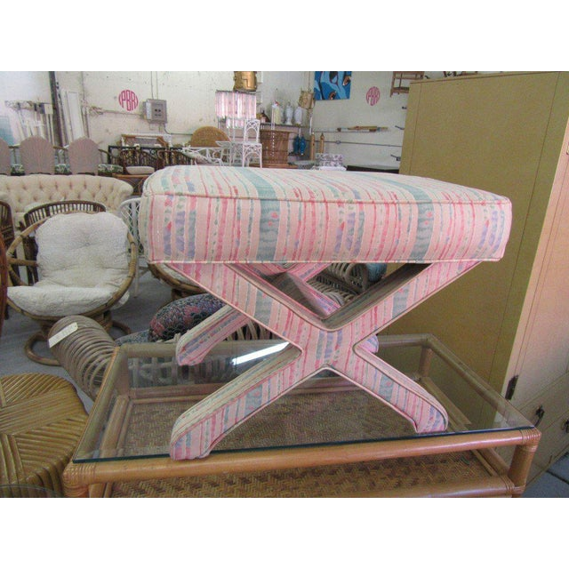 Pastel Upholstered X Bench.