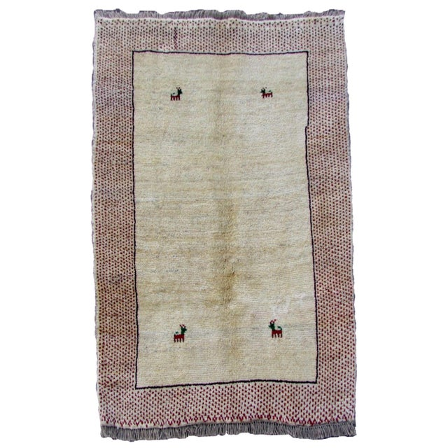 1970s, Handmade Vintage Persian Gabbeh Rug 3.5' X 4.11' For Sale - Image 11 of 11
