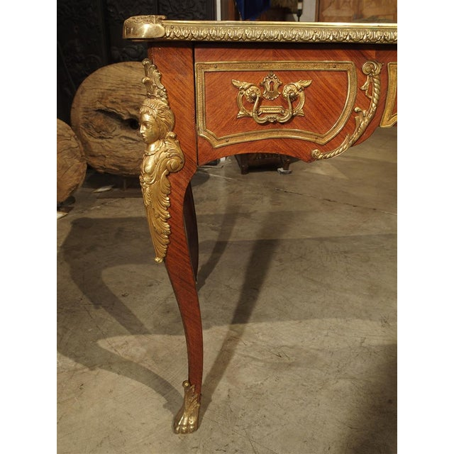 Gold Circa 1900 French Louis XV Style Bureau Plat Writing Desk For Sale - Image 8 of 13