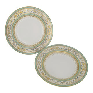 Royal Vienna Green & Gold Gilt Shallow Bowls or Dish Set - Set of 2 For Sale