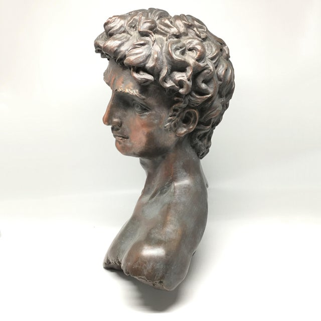 Hollywood Regency Vintage Neoclassical Roman Plaster Male Bust of David For Sale - Image 3 of 6