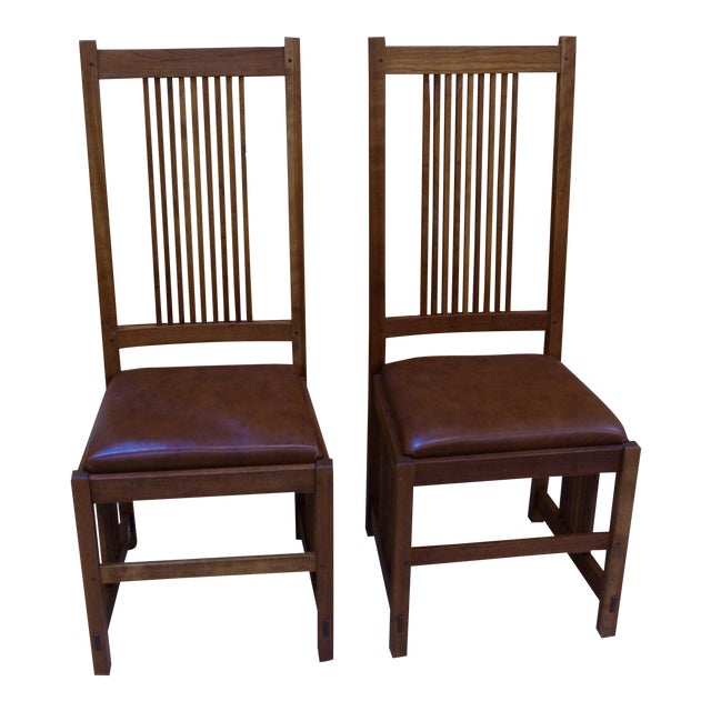 Stickley Mission Style Dining Chairs A Pair Chairish