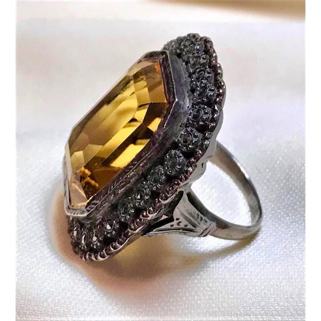 Art Deco 1930s Vintage Sterling, Marcasite & Faceted Glass Ring For Sale - Image 3 of 7