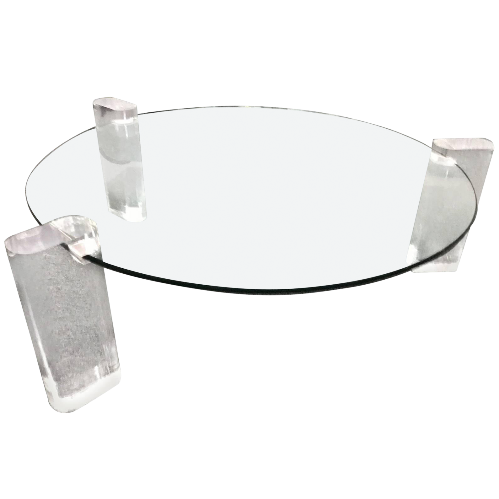 - Lucite And Glass Coffee Table Round Chairish