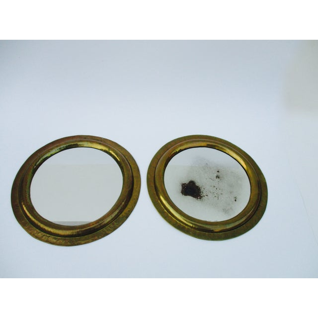Round Brass Boho Mirrors - A Pair - Image 2 of 7