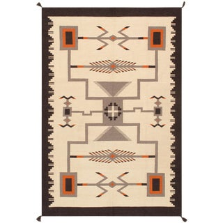 Pasargad Home Navajo Style Wool Area Rug - 5′11″ × 8′11″ For Sale