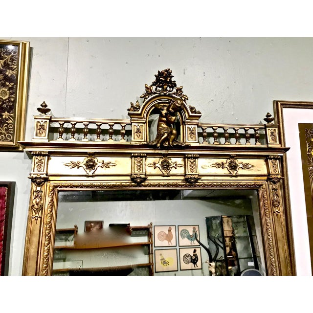 Large 19th Century Antique French Gilt Putti Mirror For Sale - Image 4 of 9