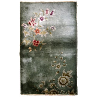 1920s Handmade Antique Art Deco Chinese Rug 2.11' X 4.10' For Sale