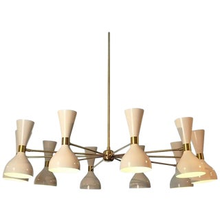 "Large Modern ""Ludo"" Chandelier in White Enamel and Brass by Blueprint Lighting For Sale"