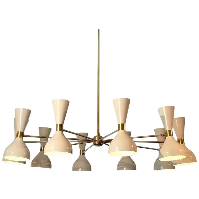 """Large Modern """"Ludo"""" Chandelier in White Enamel and Brass by Blueprint Lighting For Sale"""