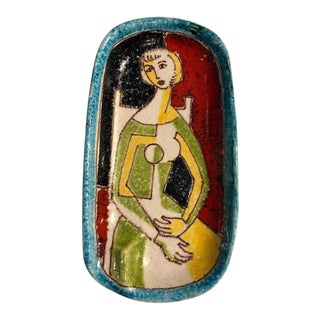 1950s Alvino Bagni for Raymor Italian Art Pottery Dish For Sale