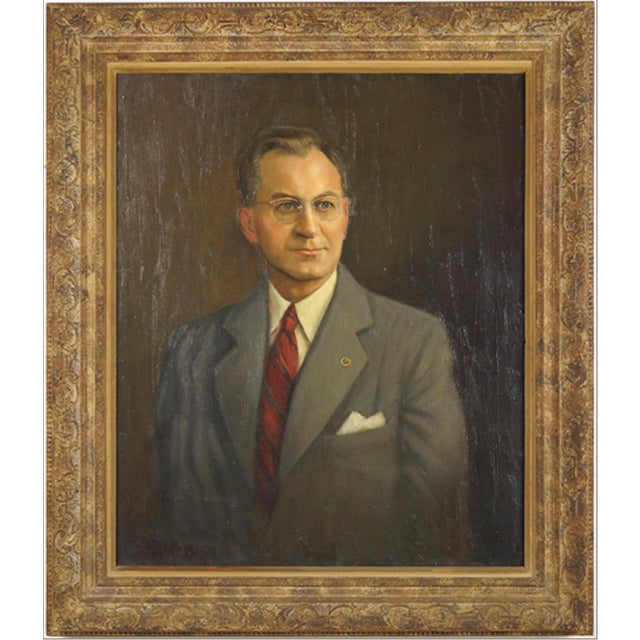 Mid Century Portrait of a man.artist Unknown (American, 20th Century) For Sale In Chicago - Image 6 of 6