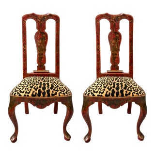 Chinoiserie Queen Anne Side Chairs - A Pair For Sale