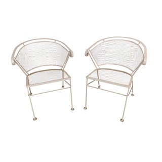 Wrought Iron Vintage Pair Expanded Metal Curved Back Garden or Patio Armchairs For Sale