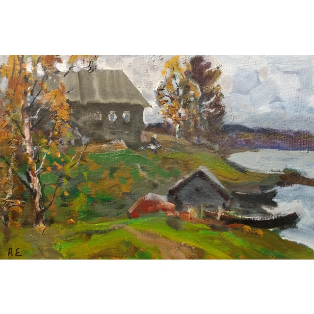 """Impressionist Alex Eremin """"Autumn Day at the Marina""""- Landscape Oil Painting For Sale - Image 3 of 11"""
