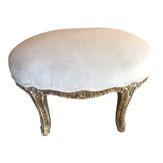 Antique Gilded Velvet Upholstered Footstool For Sale