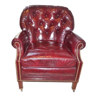Hancock & Moore Tufted Leather Club Chair For Sale