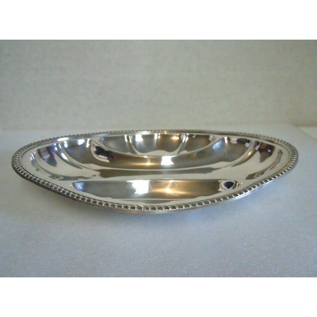 """Vintage Poole Silver-Plate Relish Tray Condition: Excellent. Faint Scratches From Use. Measures Approximately 11"""" X 8"""" X..."""
